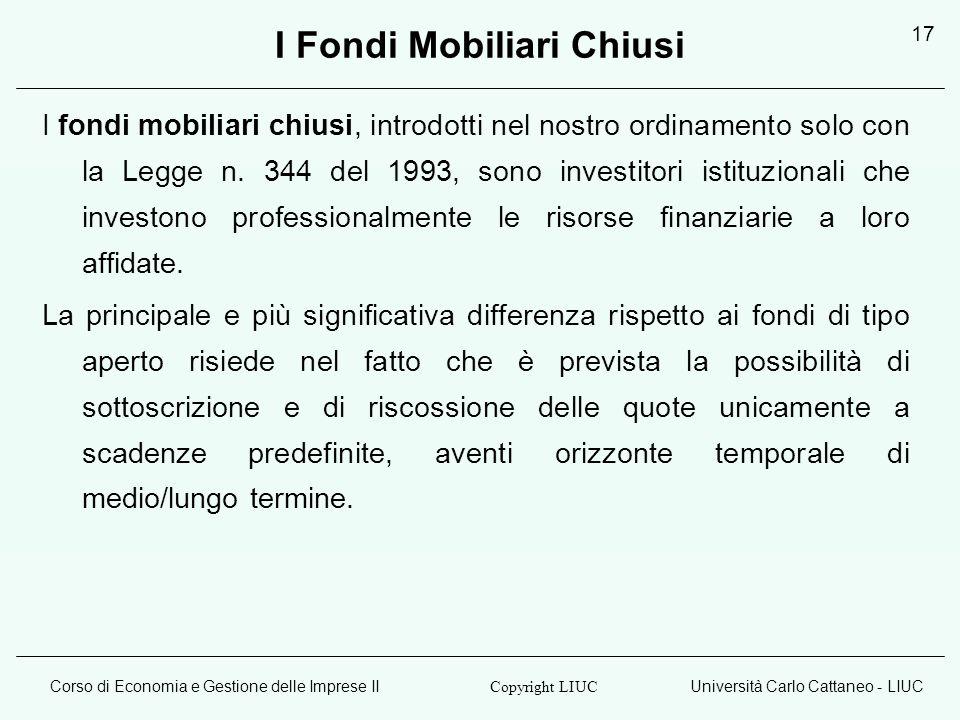 I Fondi Mobiliari Chiusi