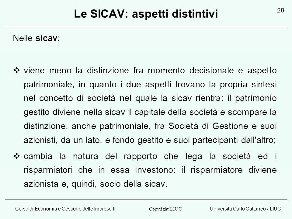 Le SICAV: aspetti distintivi