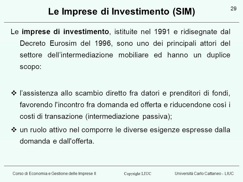 Le Imprese di Investimento (SIM)