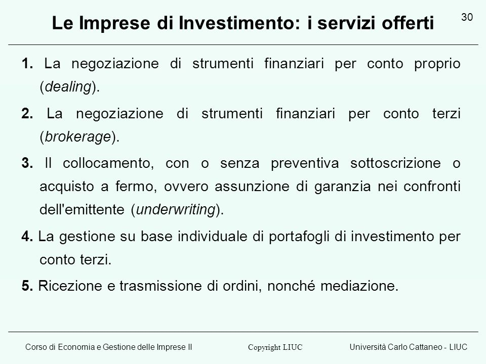 Le Imprese di Investimento: i servizi offerti