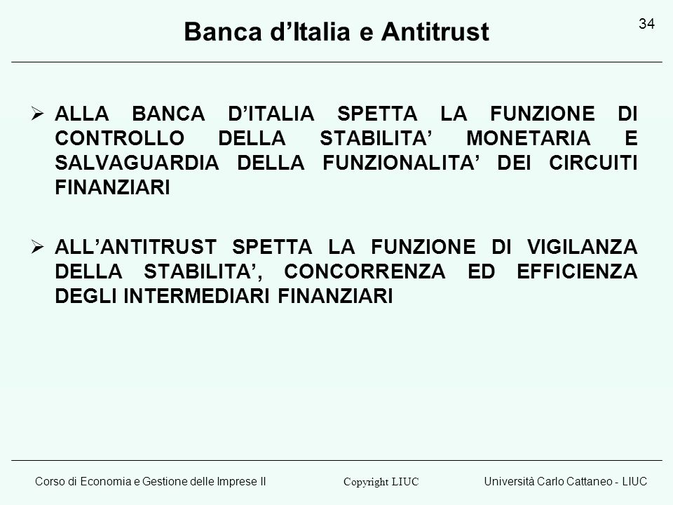 Banca d'Italia e Antitrust