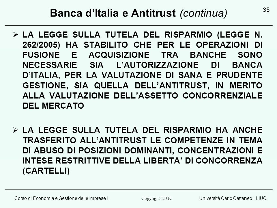 Banca d'Italia e Antitrust (continua)