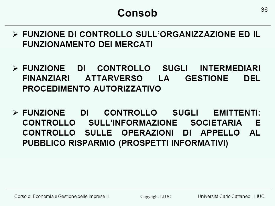 Consob FUNZIONE DI CONTROLLO SULL'ORGANIZZAZIONE ED IL FUNZIONAMENTO DEI MERCATI.