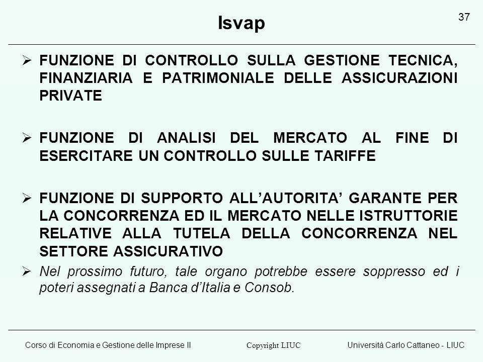 Isvap FUNZIONE DI CONTROLLO SULLA GESTIONE TECNICA, FINANZIARIA E PATRIMONIALE DELLE ASSICURAZIONI PRIVATE.