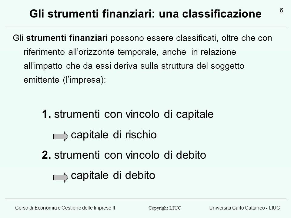 Gli strumenti finanziari: una classificazione