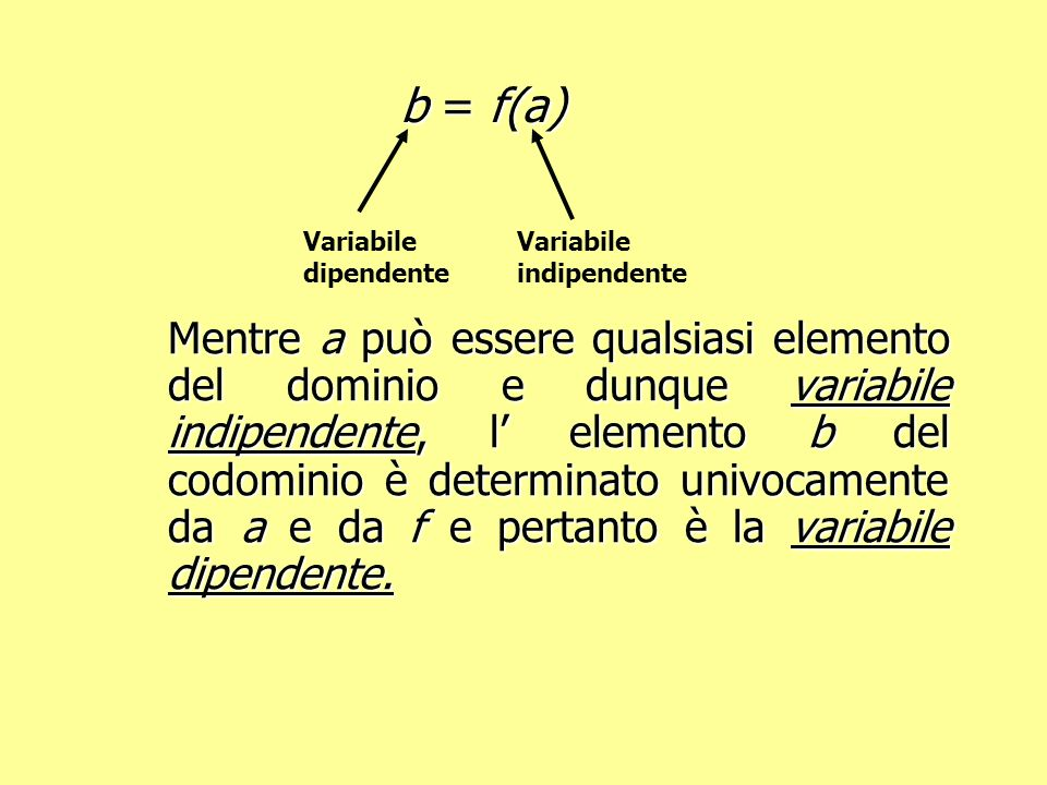 b = f(a) Variabile dipendente. Variabile indipendente.