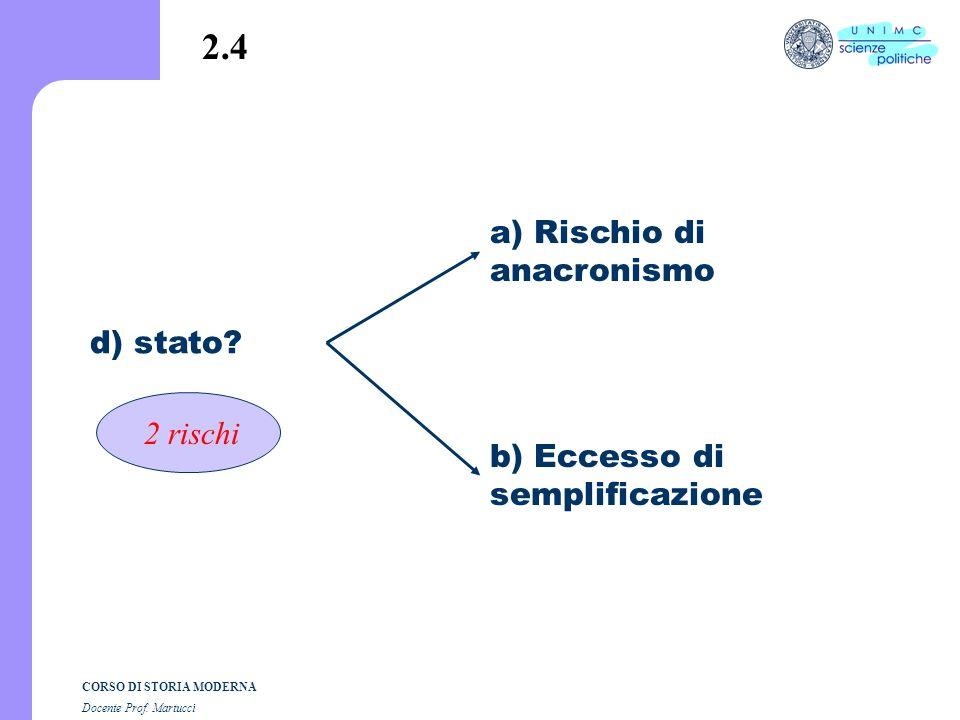 2.4 a) Rischio di anacronismo d) stato 2 rischi