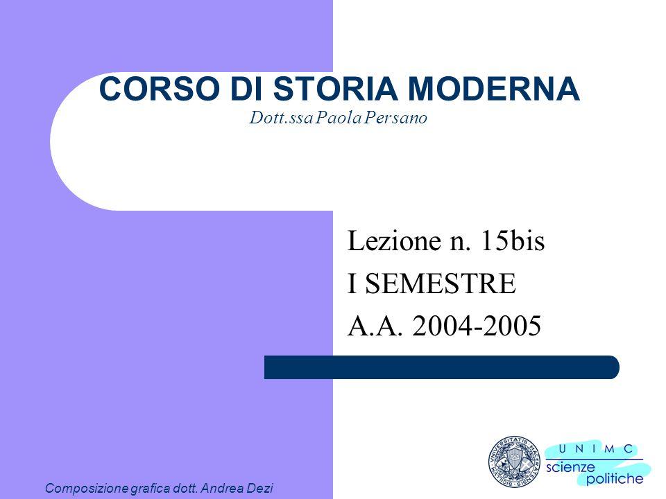 CORSO DI STORIA MODERNA Dott.ssa Paola Persano