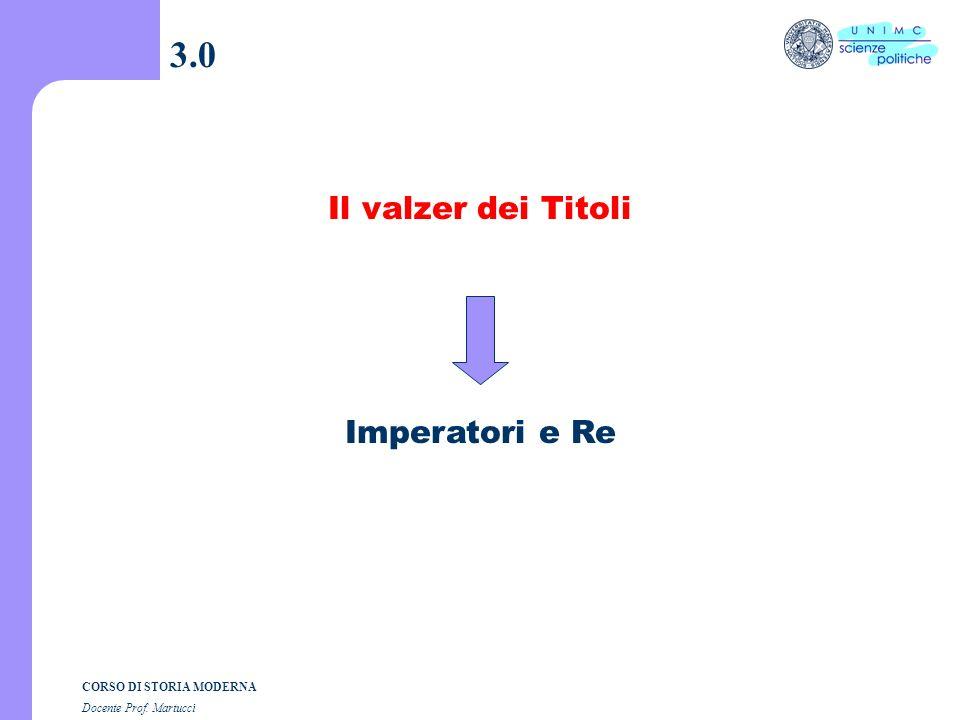3.0 Il valzer dei Titoli Imperatori e Re
