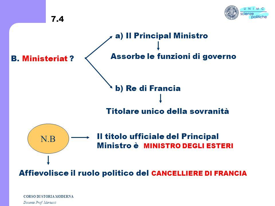 N.B 7.4 a) Il Principal Ministro Assorbe le funzioni di governo
