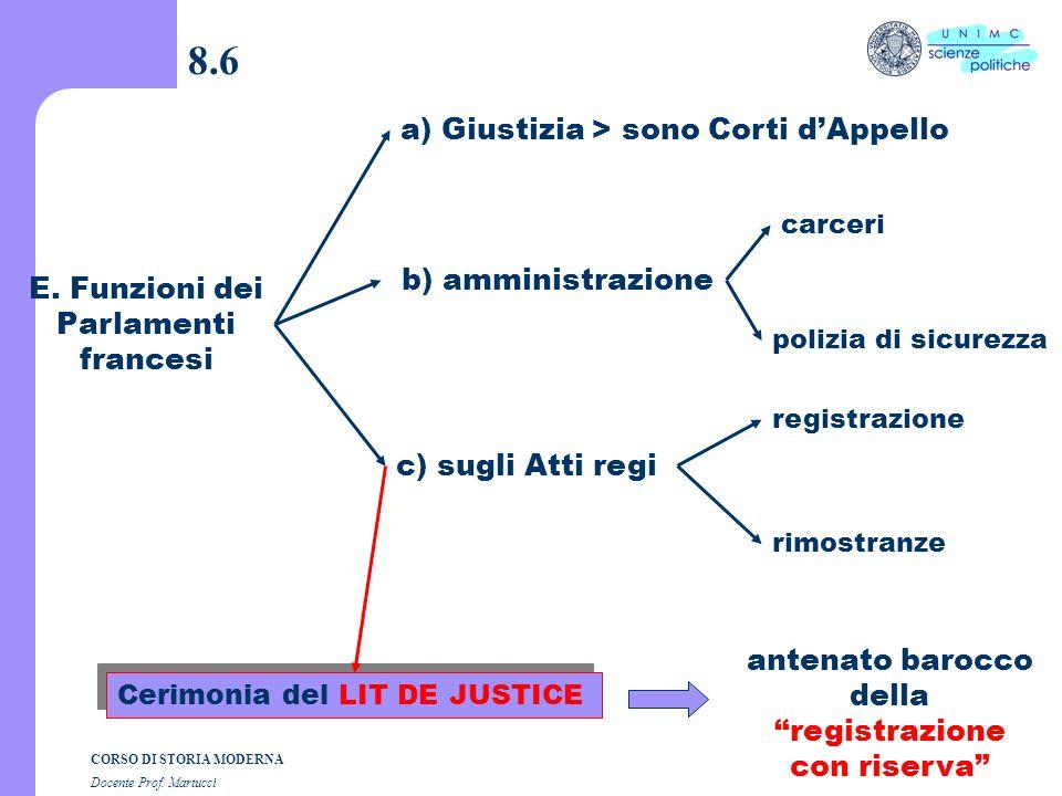 8.6 a) Giustizia > sono Corti d'Appello b) amministrazione