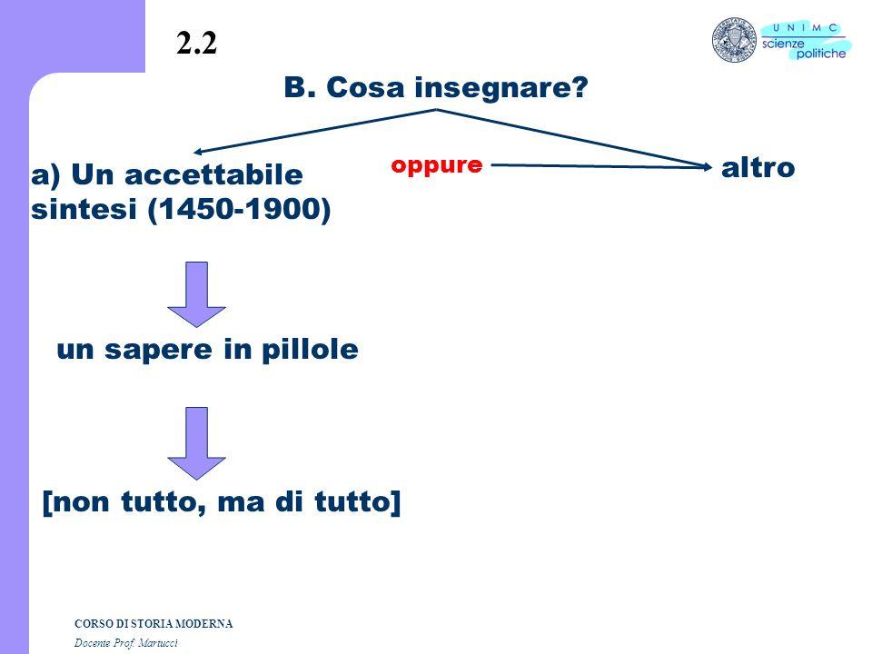 2.2 B. Cosa insegnare altro a) Un accettabile sintesi (1450-1900)