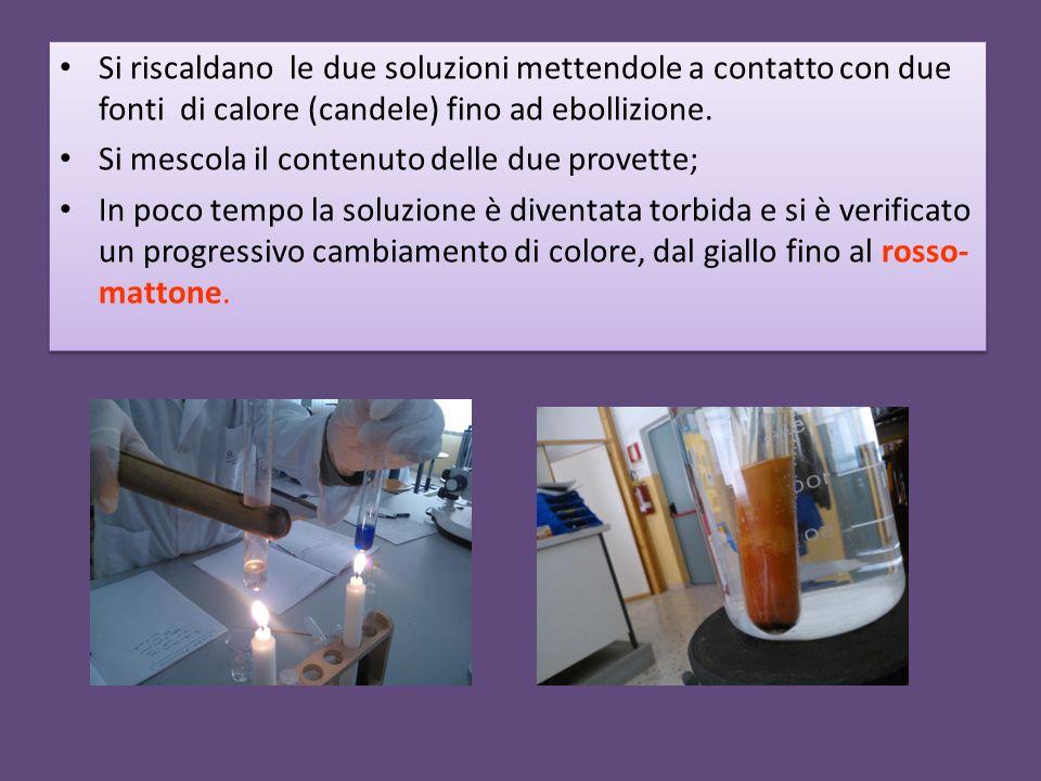 Si riscaldano le due soluzioni mettendole a contatto con due fonti di calore (candele) fino ad ebollizione.