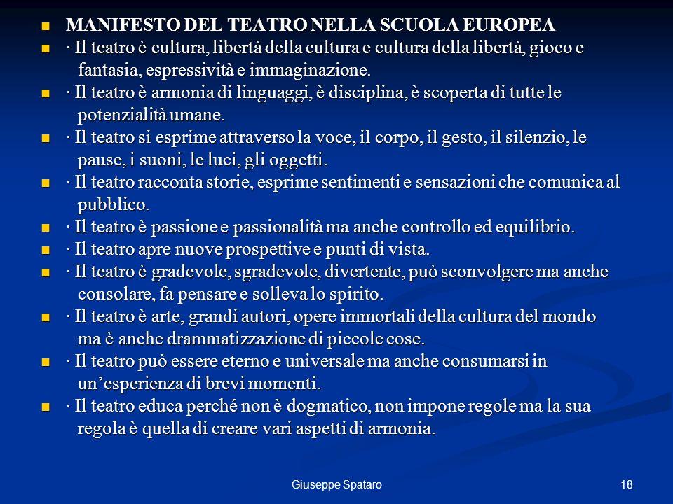 MANIFESTO DEL TEATRO NELLA SCUOLA EUROPEA
