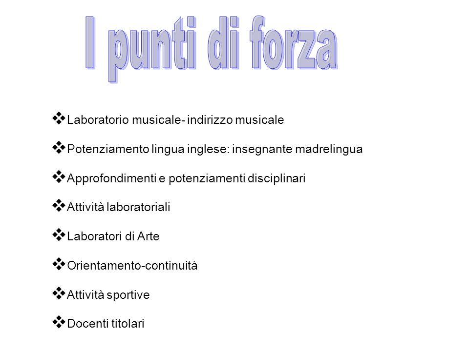 I punti di forza Laboratorio musicale- indirizzo musicale