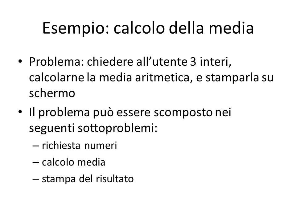 Esempio: calcolo della media