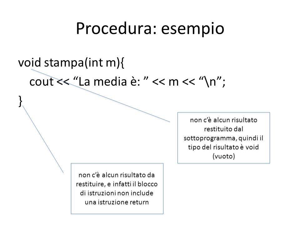 Procedura: esempiovoid stampa(int m){ cout << La media è: << m << \n ; }