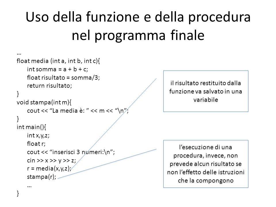 Uso della funzione e della procedura nel programma finale