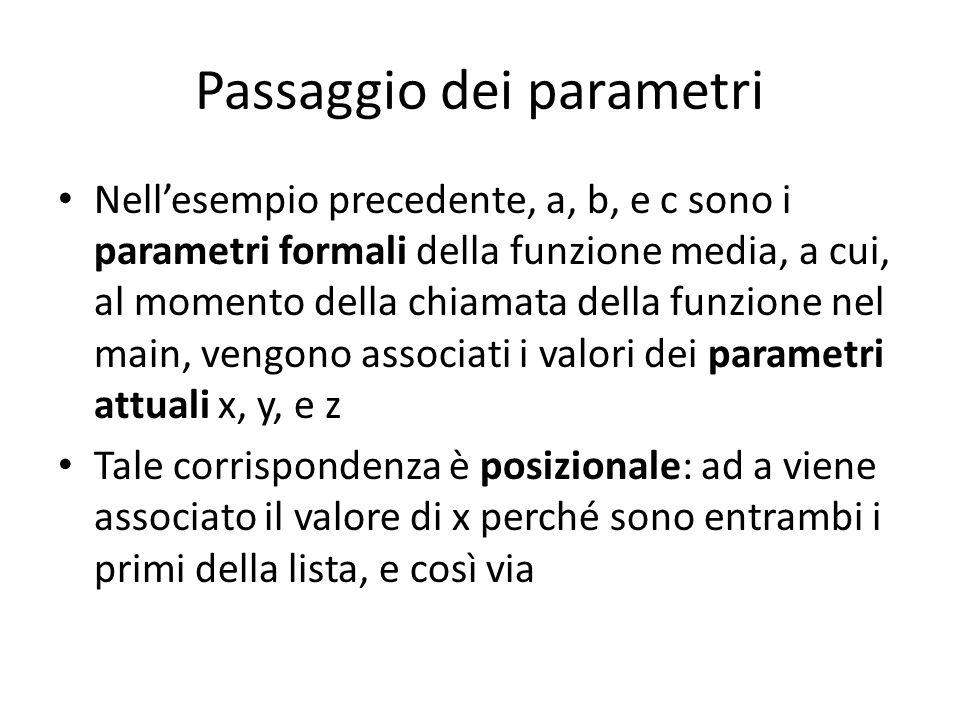 Passaggio dei parametri