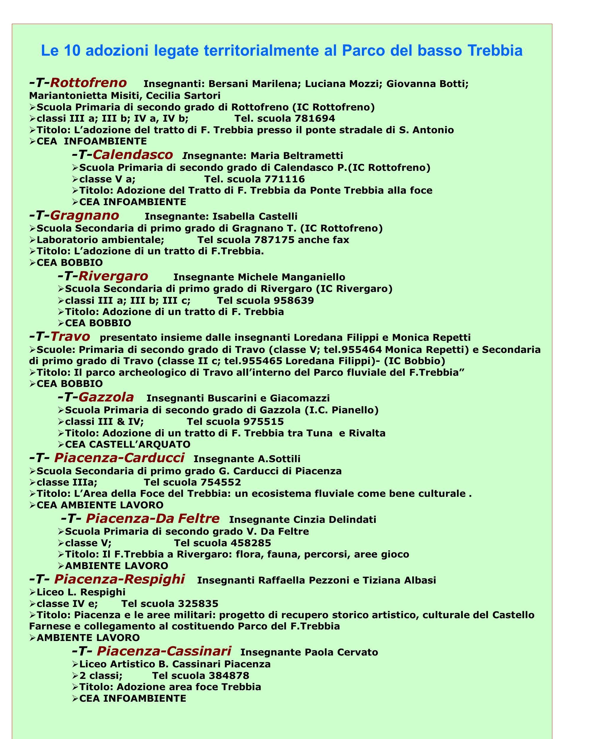 Le 10 adozioni legate territorialmente al Parco del basso Trebbia