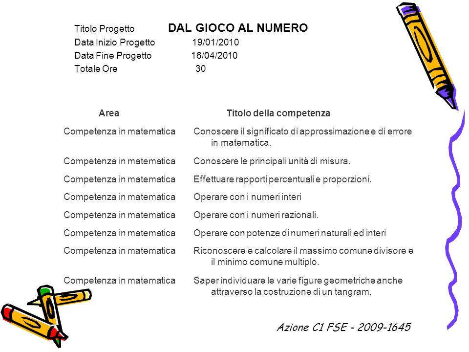 Azione C1 FSE - 2009-1645 Titolo Progetto DAL GIOCO AL NUMERO