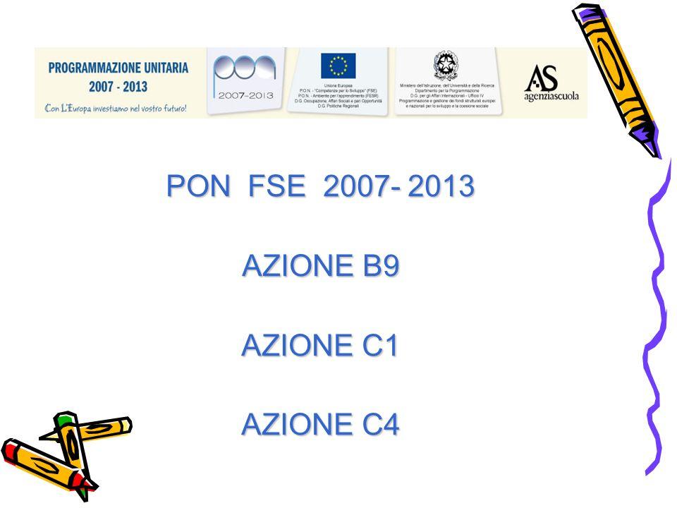 PON FSE 2007- 2013 AZIONE B9 AZIONE C1 AZIONE C4