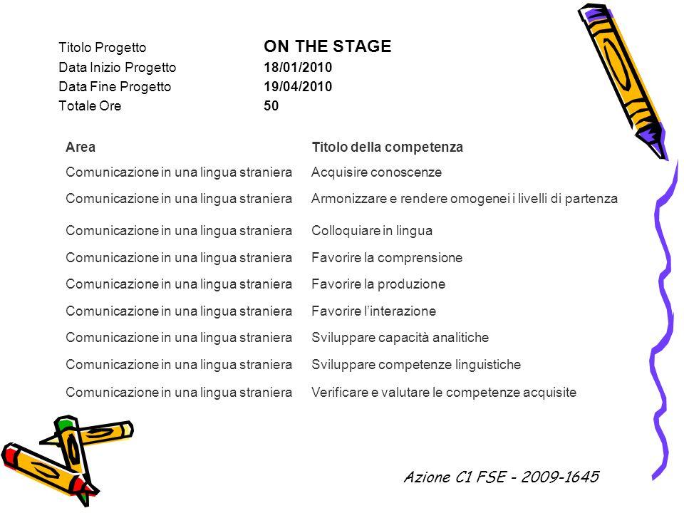 Azione C1 FSE - 2009-1645 Titolo Progetto ON THE STAGE