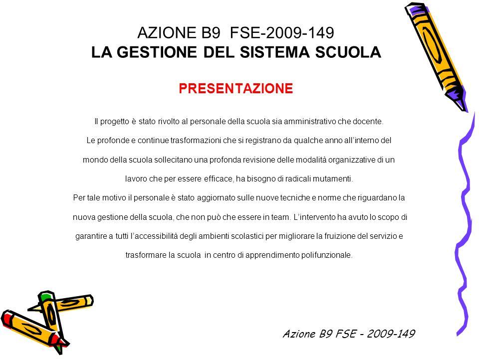 AZIONE B9 FSE-2009-149 LA GESTIONE DEL SISTEMA SCUOLA PRESENTAZIONE