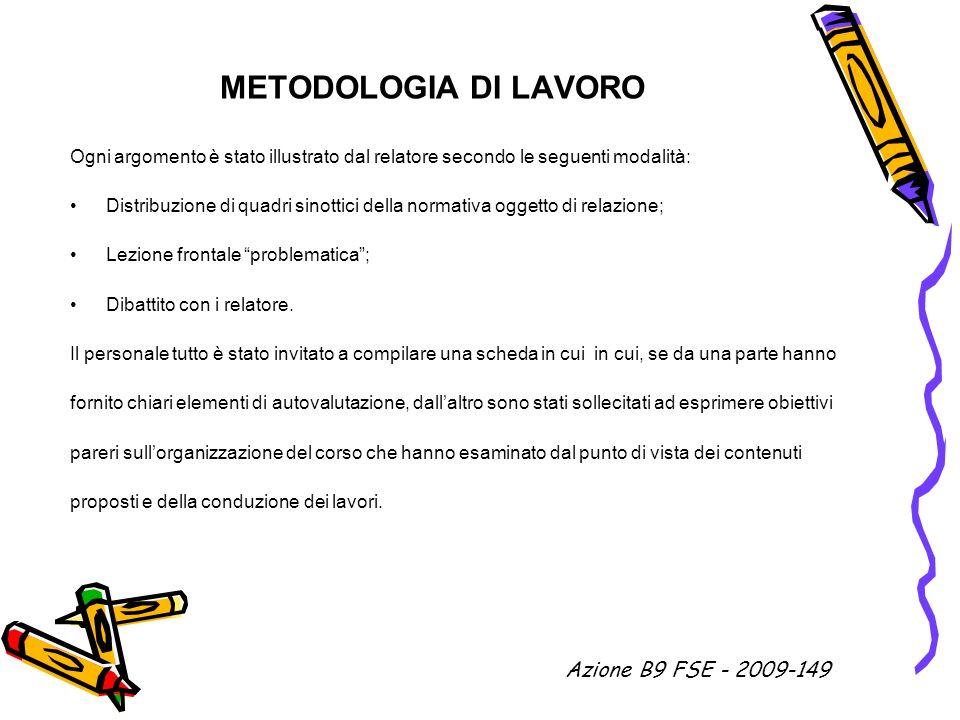 METODOLOGIA DI LAVORO Azione B9 FSE - 2009-149