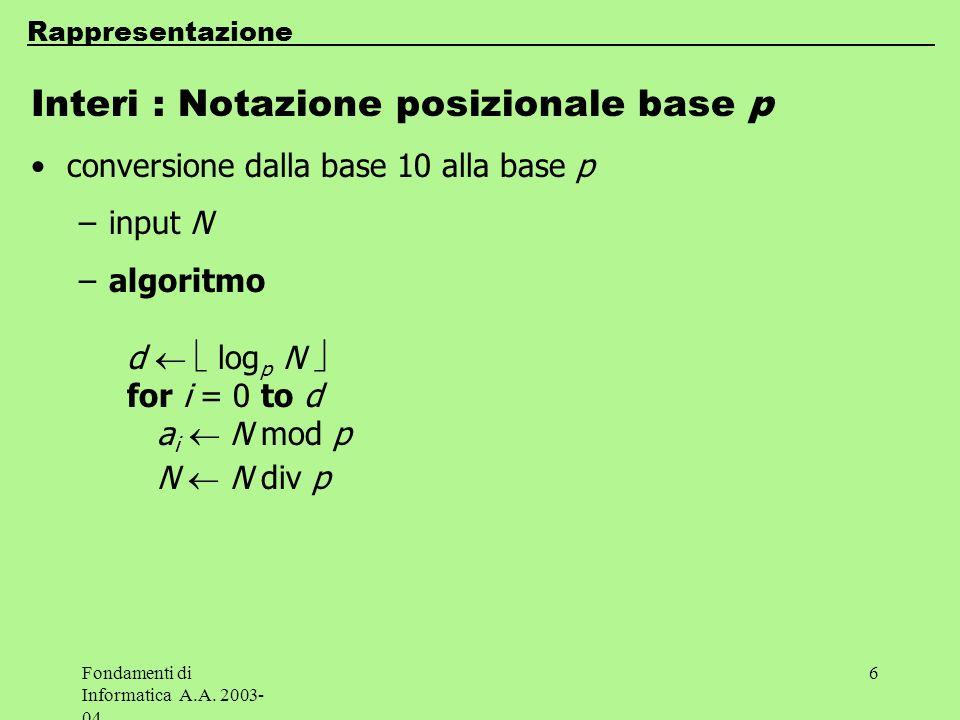 Interi : Notazione posizionale base p