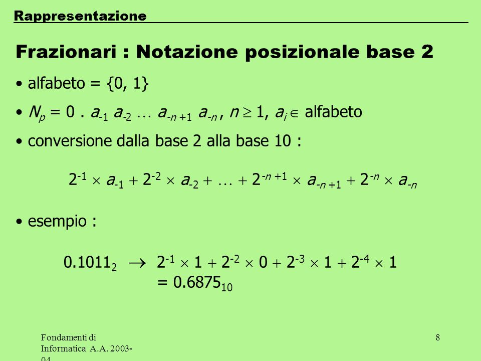 Frazionari : Notazione posizionale base 2