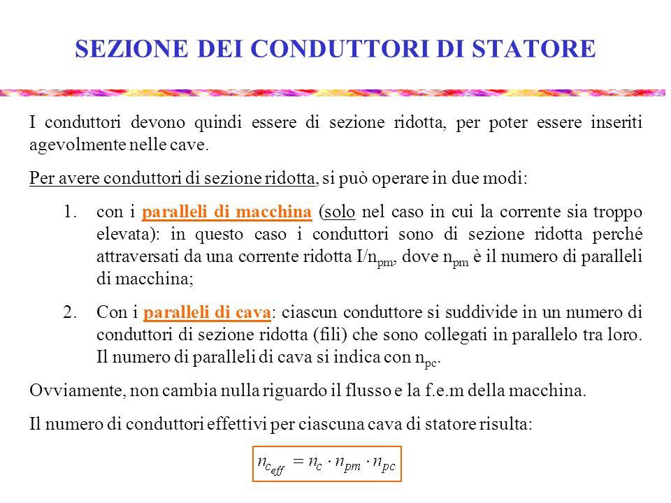 SEZIONE DEI CONDUTTORI DI STATORE