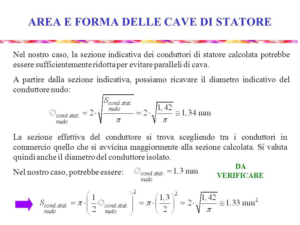 AREA E FORMA DELLE CAVE DI STATORE