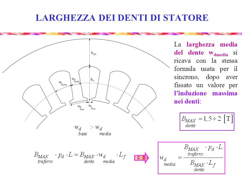 LARGHEZZA DEI DENTI DI STATORE