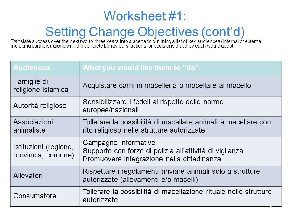 Worksheet #1: Setting Change Objectives (cont'd)