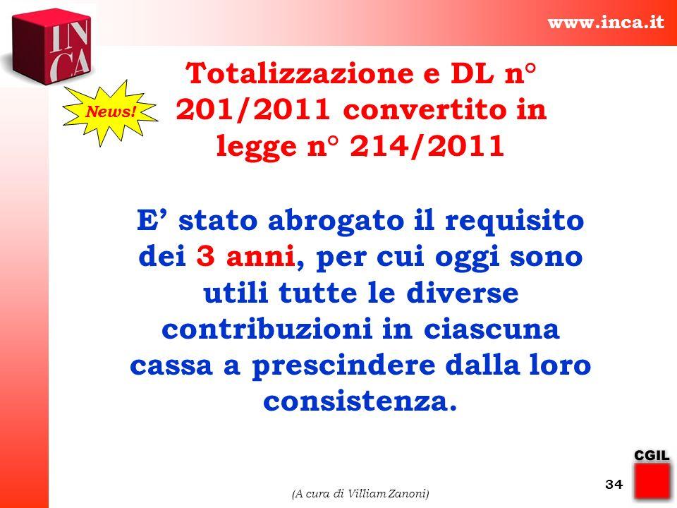 Totalizzazione e DL n° 201/2011 convertito in legge n° 214/2011