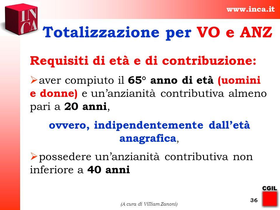 Totalizzazione per VO e ANZ