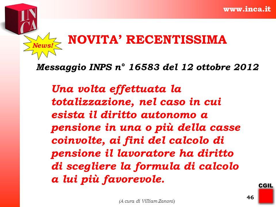 Messaggio INPS n° 16583 del 12 ottobre 2012