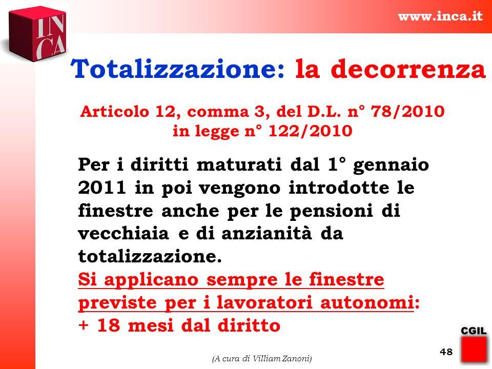 Articolo 12, comma 3, del D.L. n° 78/2010