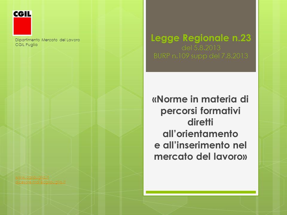 Legge Regionale n.23 del 5.8.2013 BURP n.109 supp del 7.8.2013