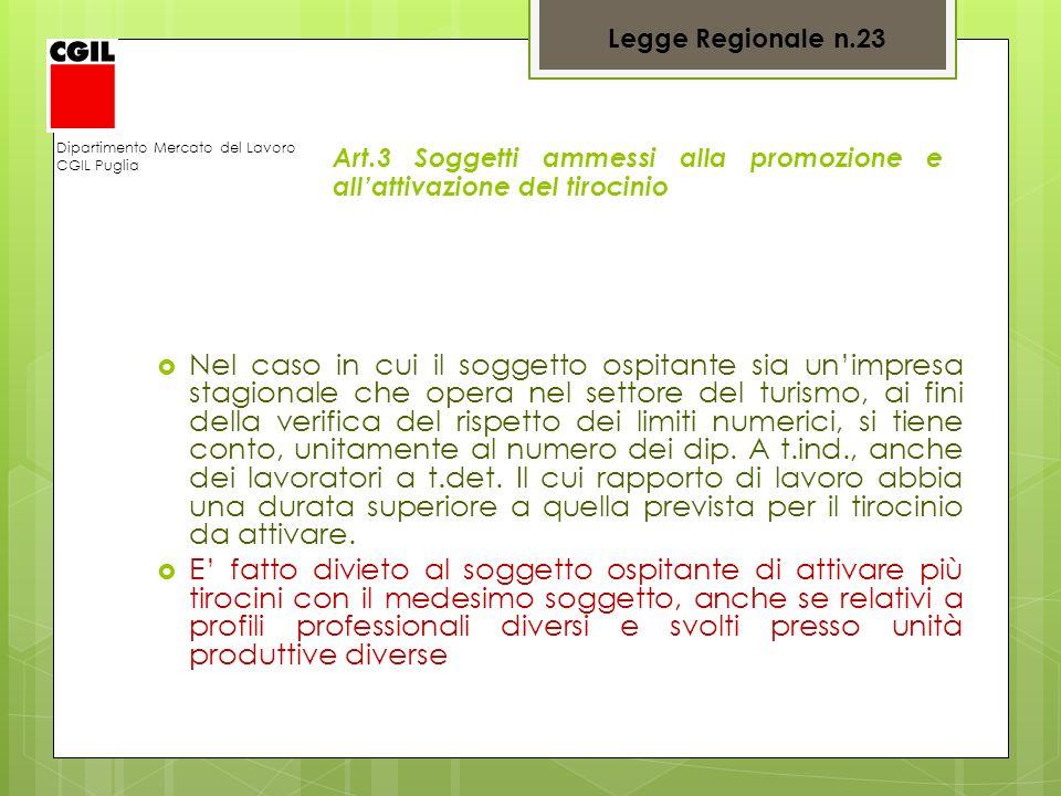 Legge Regionale n.23 Dipartimento Mercato del Lavoro. CGIL Puglia. Art.3 Soggetti ammessi alla promozione e all'attivazione del tirocinio.