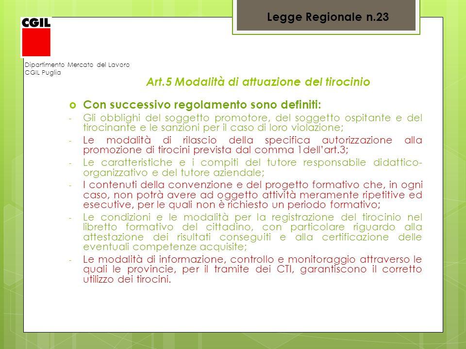 Art.5 Modalità di attuazione del tirocinio