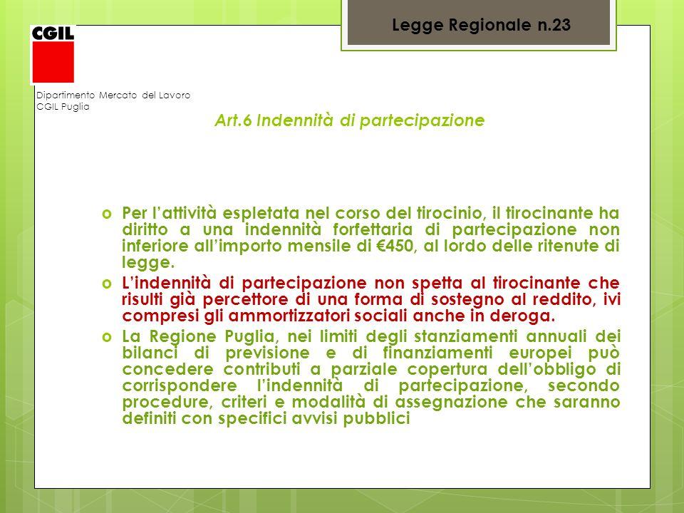 Art.6 Indennità di partecipazione