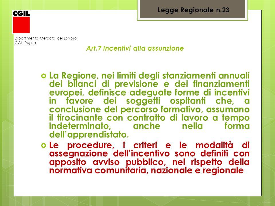 Legge Regionale n.23 Dipartimento Mercato del Lavoro. CGIL Puglia. Art.7 Incentivi alla assunzione.