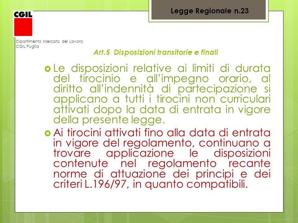 Legge Regionale n.23 Dipartimento Mercato del Lavoro. CGIL Puglia. Art.5 Disposizioni transitorie e finali.