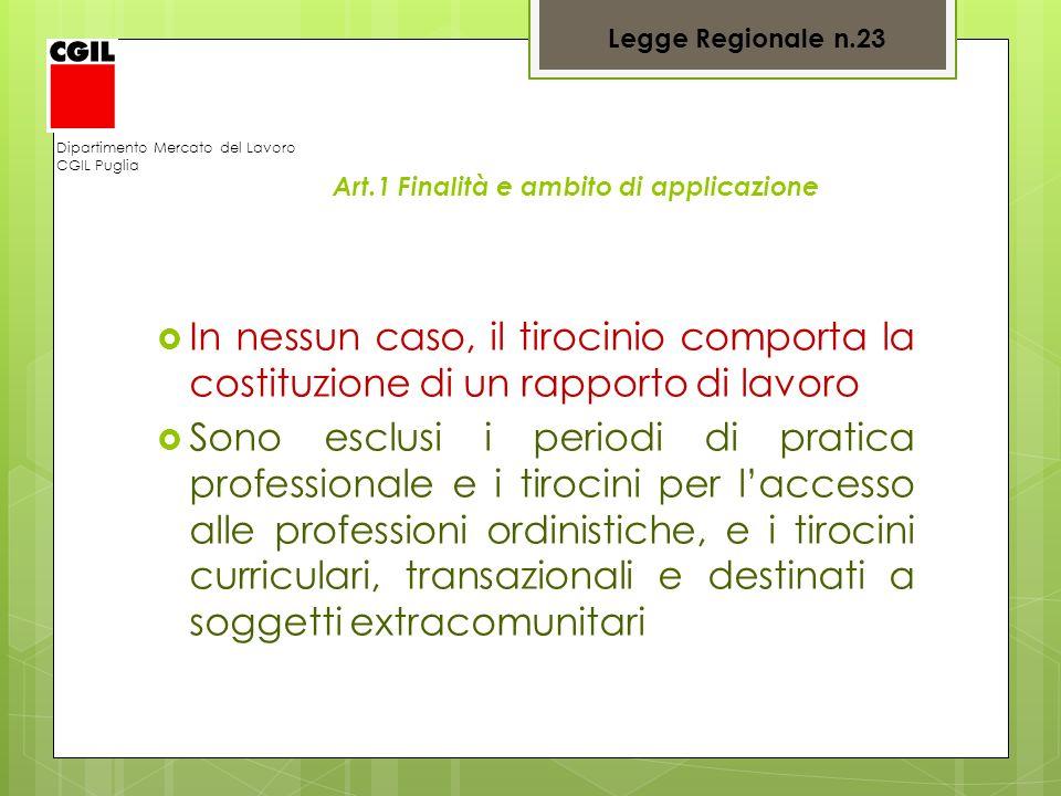 Legge Regionale n.23 Dipartimento Mercato del Lavoro. CGIL Puglia. Art.1 Finalità e ambito di applicazione.
