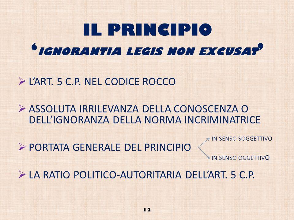 IL PRINCIPIO 'ignorantia legis non excusat'