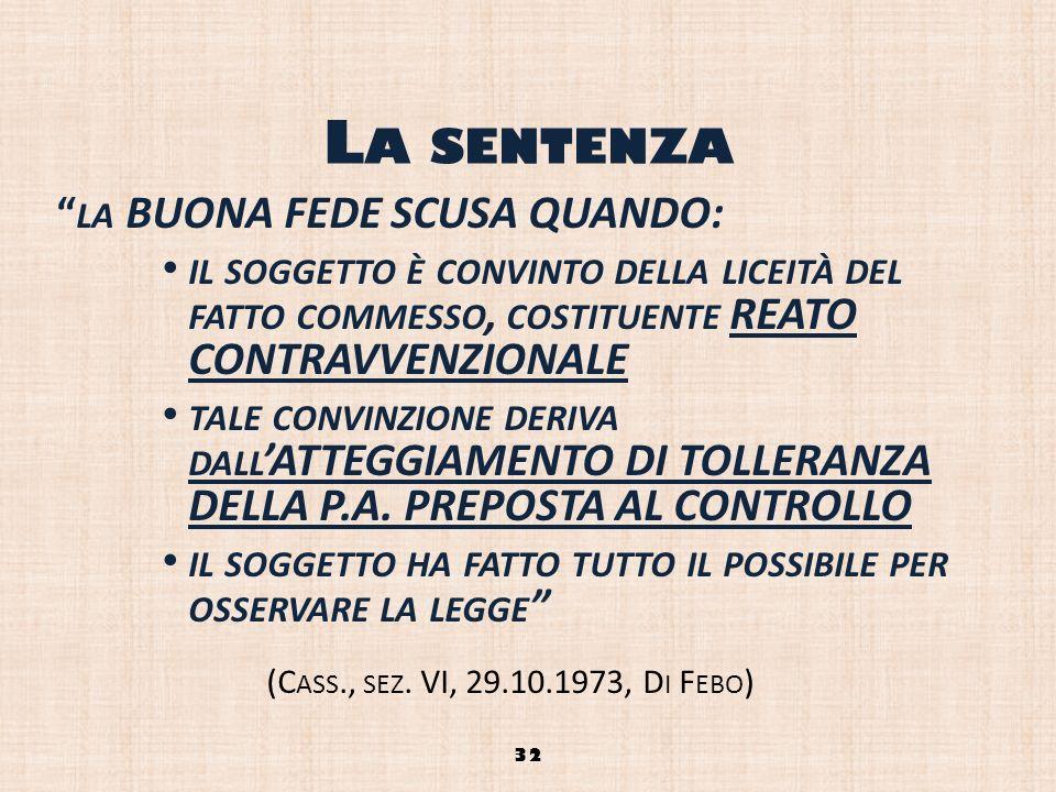La sentenza la BUONA FEDE SCUSA QUANDO: il soggetto è convinto della liceità del fatto commesso, costituente REATO CONTRAVVENZIONALE.