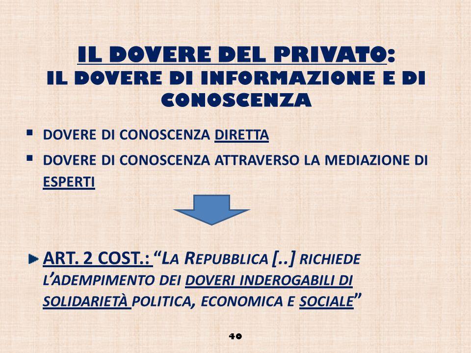 IL DOVERE DEL PRIVATO: IL DOVERE DI INFORMAZIONE E DI CONOSCENZA