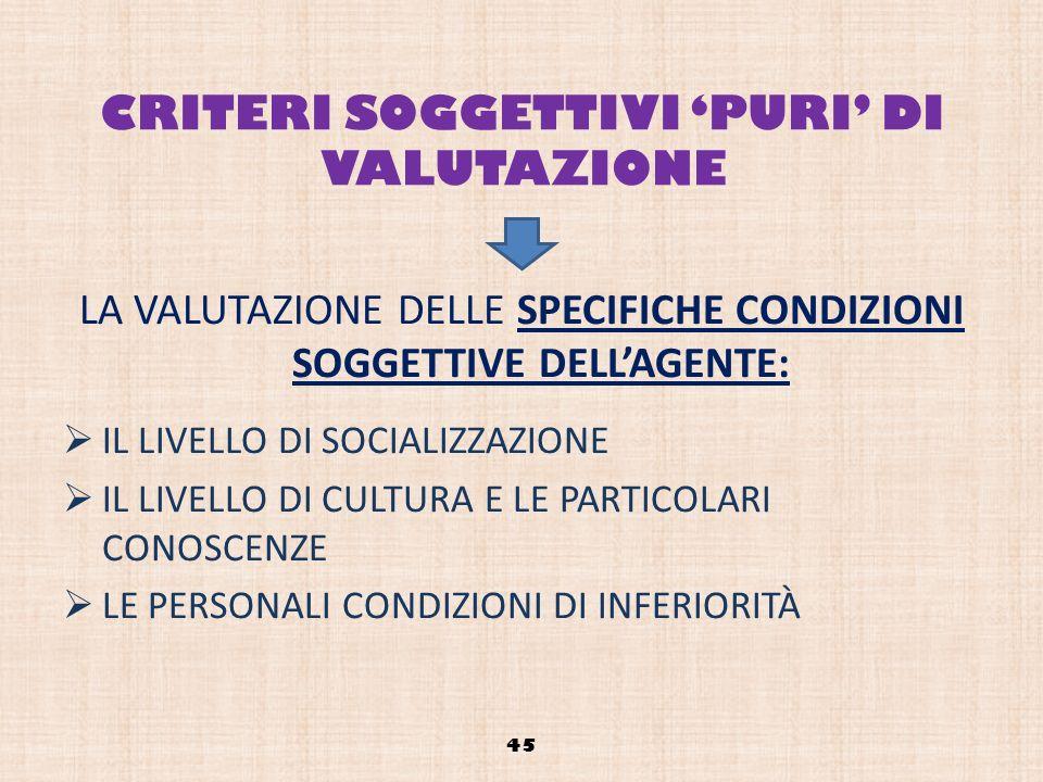 CRITERI SOGGETTIVI 'PURI' DI VALUTAZIONE